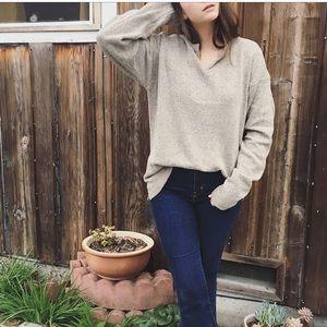 Vintage Silk knit oversized slouchy Henley sweater